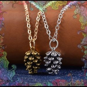 Gold OR Silver Small Pine Cone Adorable Necklace